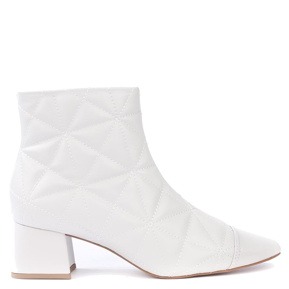 Bota Cano Curto Salto Bloco Paris Off White